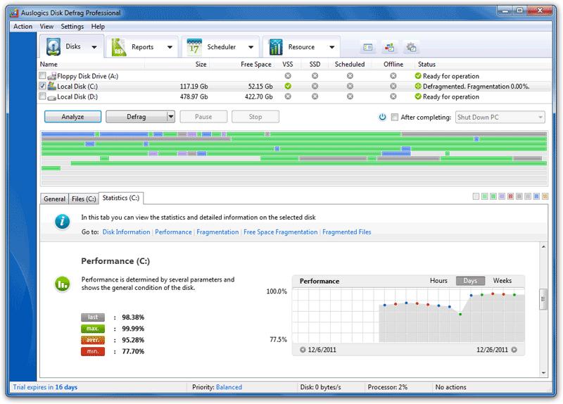 Auslogics Disk Defrag Pro windows