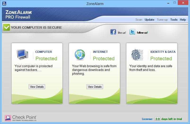 ZoneAlarm Pro Firewall windows