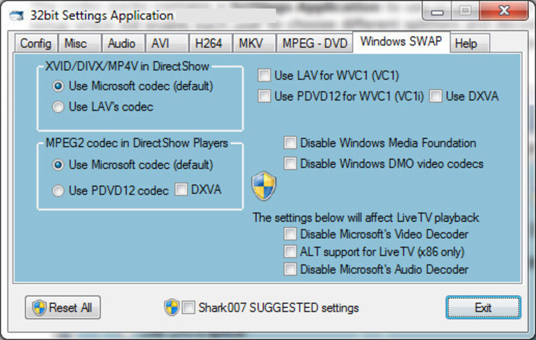 STANDARD Codecs windows