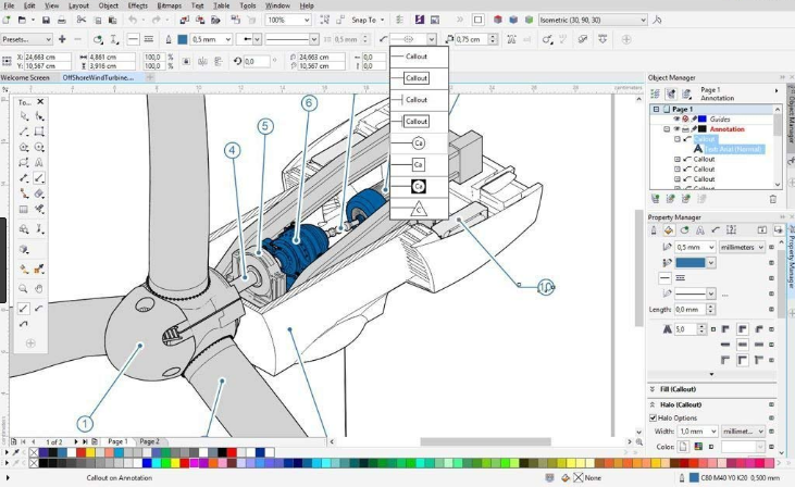CorelDRAW Technical Suite windows