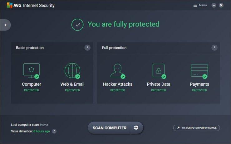 AVG Internet Security windows