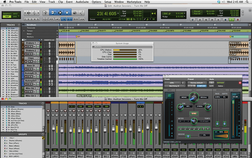 Avid Pro Tools windows