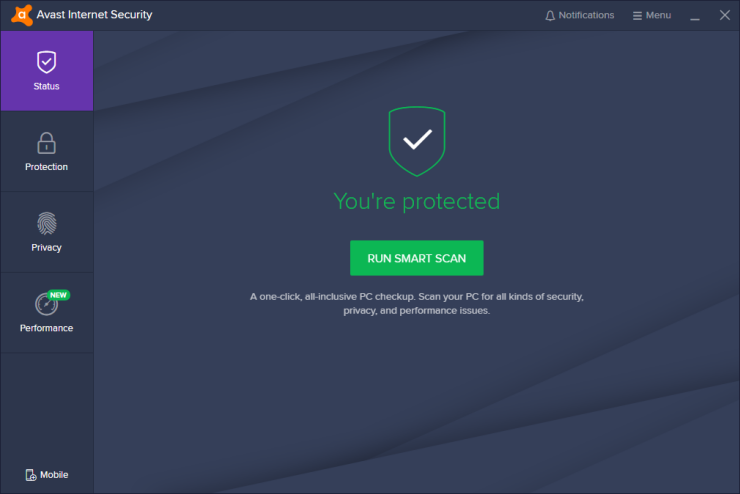 Avast Internet Security windows