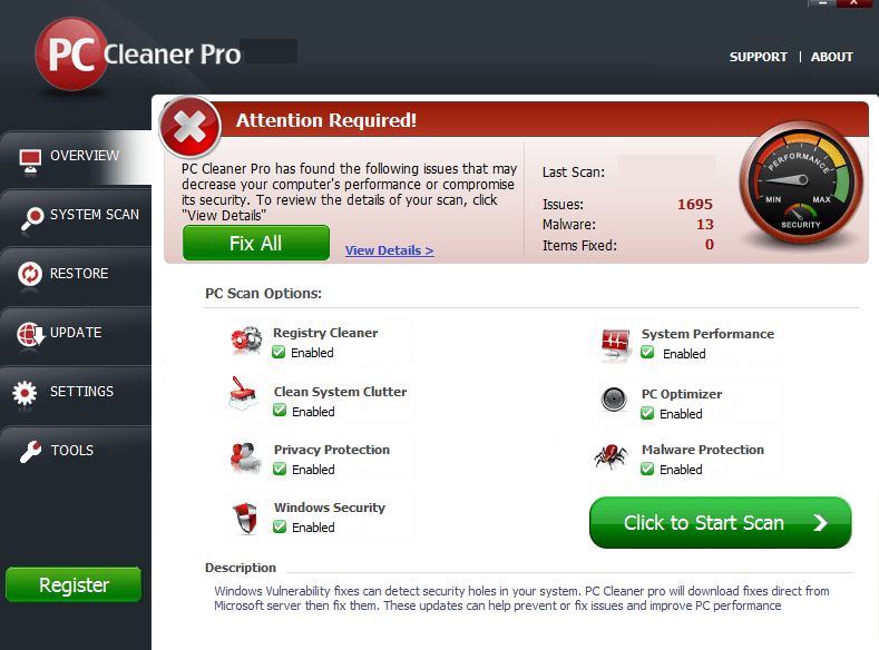 PC Cleaner Pro windows