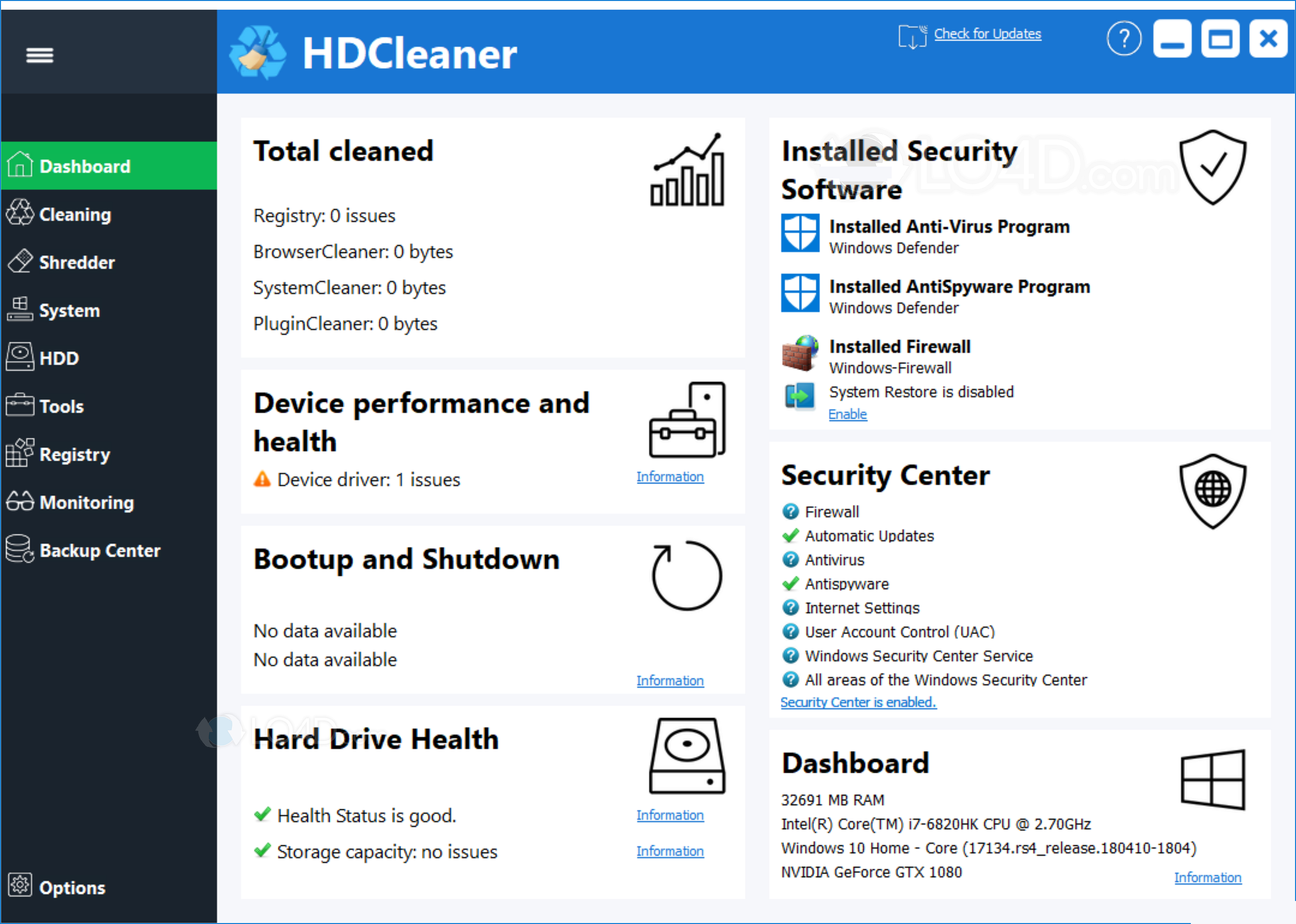HDCleaner latest version