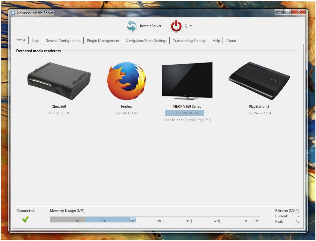 Universal Media Server windows