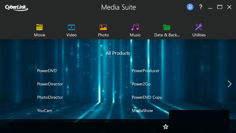 CyberLink Media Suite windows