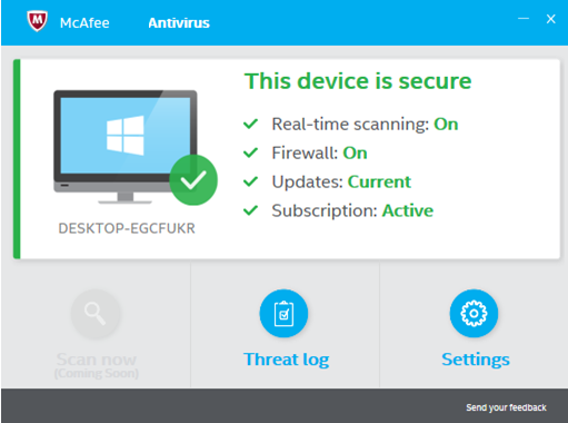 MacAfee Antivirus windows