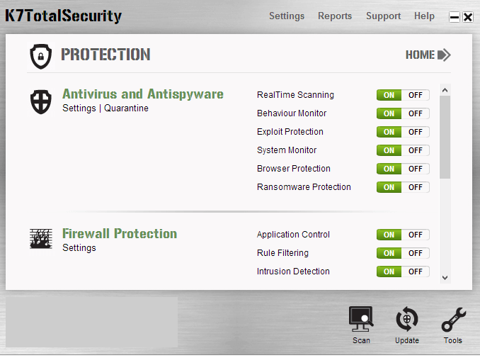 K7 Total Security windows