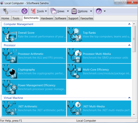 SiSoftware Sandra windows