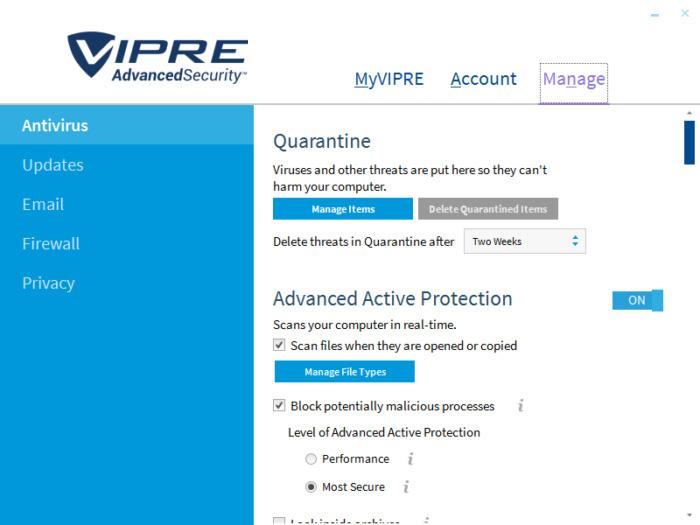 VIPRE Advanced Security windows
